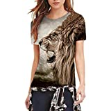 BHYDRY Mode lustige Frauen Mode 16D Print Casual Kurzarm Top Bluse T-Shirts(S,Braun)