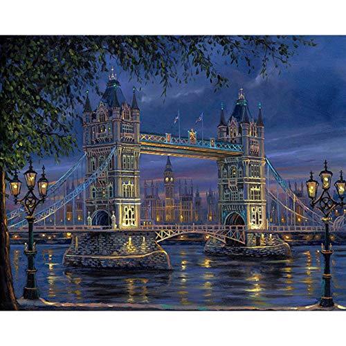 len DIY Malen nach Zahlen Brücke Pop Art Gemälde nach Zahlen Städte Wohnkultur für Wohnzimmer Wandkunst Nachtansicht ()