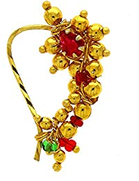 Anuradha Art Golden Colour Studded With Pink Colour Stone Designer Traditioanl Nath For Women/Girls