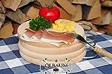Frühstücks-Servierbrett, Buche, 4 Stück - massive Holz-Picknick-Set / Picknicksets, hochwertige ca. 16 mm starke Picknick-Holzbrett klassisch mit Metallhenkel natur mit abgerundeten Kanten, Maße rund je ca. 25 cm Durchmesser & 1x viereckig ca. 27 cm x 15 cm als Kräuterbrett, Brotzeitbrett, Bayerisches Brotzeitbrettl, NEU MASSIVE Picknick-Set Schneidebretter, Steakteller schinkenbrett rustikal, Schinkenteller von BTV Ölbaum
