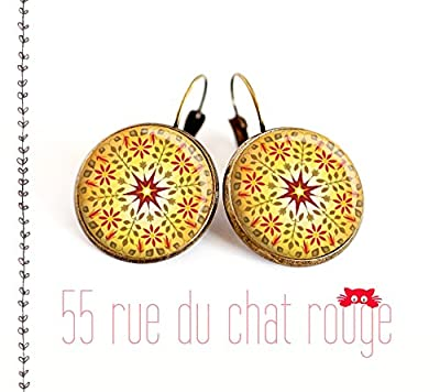 Boucles d'oreilles cabochon, Mantra, mandala jane, zen, bijou ethnique, idée cadeau Noël, bijou Soleil