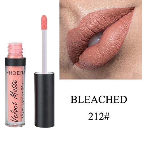 Huihong PHOERA 12 Schattierungen Matt Zum Glitzern  Lippenstift Wasserdicht  Lang Anhaltende Make-Up Lipgloss Sexy Lippe  Farbe (212#)