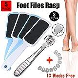 5 Pack Foot Pedicure Kit, Foot Rasp Files, Corn Callus Cuticle Hard Skin Heel Shaver Cutter Grater ( Bonus 10 Blades )