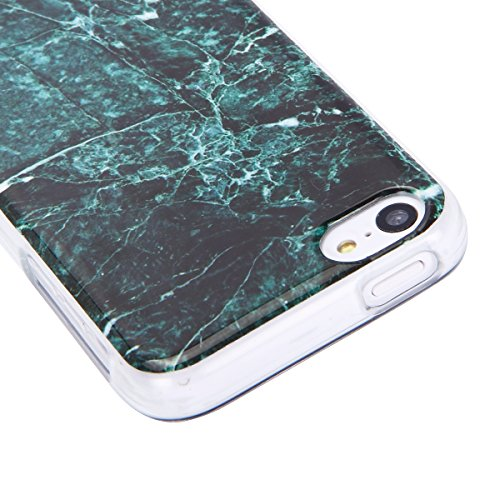 iPhone 5C Hülle,SainCat Kreativer Cartoon Federn Blumen Muster TPU Schutz Handy Hülle Handyhülle Transparent Ultra dünne Silikon Schutzhülle Durchsichtig Hadytasche Stoßdämpfend TPU Gel Case Bumper We Dunkel Marmor