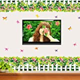 Blühende Sträucher Schmetterling Zaun Wandaufkleber Dekor Schaufenster Windows Wasserdicht Abnehmbare Transparent Pvc