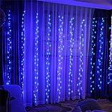 KOBWA Cortina de Luces, 300 Leds, 8 Modos con Control Remoto de Luces, Resistente al Agua,Cortina Luces LED para Decoración de Ventana, Patio, Jardín,Bar, Navidad, Día de San Valentín, Boda