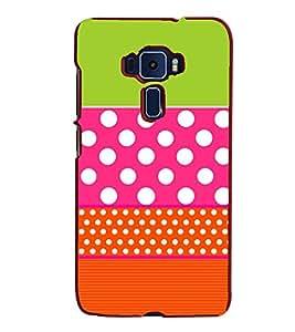 Fiobs Designer Back Case Cover for Asus Zenfone 3 ZE520KL (5.2 Inches) (Pink Green White Dot)