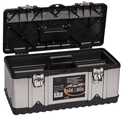 XL Werkzeugkoffer PROFI 18 aus Edelstahl mit robustem Kunststoff-Rahmen und herausnehmbaren Werkzeugträger. Mit Metallverschlüssen, abschließbar. Maße: 47 x 23,8 x 20,3 cm - 2