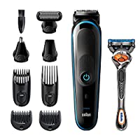 Braun 9 in 1 All-in-one Trimmer 5 MGK5280 Beard Trimmer For Men, Hair Clipper and Body Groomer with AutoSensing Technology and Gillette ProGlide Razor, Black & Blue - Pack of 1