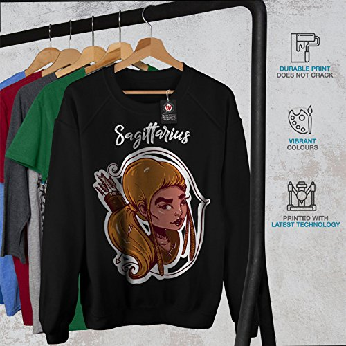 Sagittaire Zodiaque Signe Femme S-2XL Sweat-shirt | Wellcoda Noir