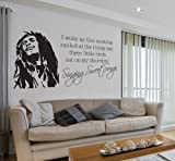 V&C Designs Ltd (TM) Bob Marley Singing Sweet Songs Lyrics Music Quote Lounge Living Room Hallway Bedroom Kitchen Dining Room Wall Sticker Wall Decal Wall Art Vinyl Wall Mural - LARGE Size