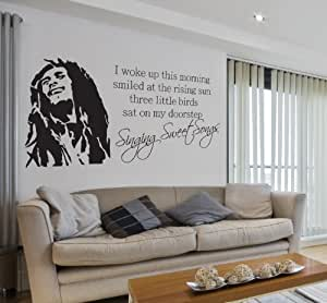 V&C Designs Ltd (TM) Bob Marley Singing Sweet Songs Lyrics Music Quote Lounge Living Room Hallway Bedroom Kitchen Dining Room Wall Sticker Wall Decal Wall Art Vinyl Wall Mural - Regular Size (Large size also available)