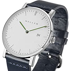 Meller Unisex Dag Marine Minimalist Watch with White Analogue Display and Leather Strap