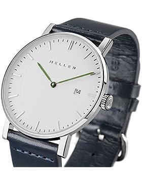 Meller Unisex Dag Marine minimalistische Armbanduhr mit weißer Analog-Anzeige und Lederband