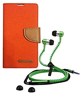 Aart Fancy Wallet Dairy Jeans Flip Case Cover for NokiaN520 (Orange) + Zipper Earphones/Hands free With Mic *Stylish Design* for all Mobiles- computers & laptops By Aart Store.