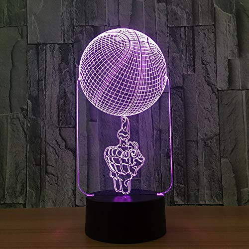 Dtcrzjxh Skeleton Basketball 3D Lampe 7 Farbe Led Nachtlampen Für Kinder Touch Led Usb Tabelle    Baby Schlafen Licht