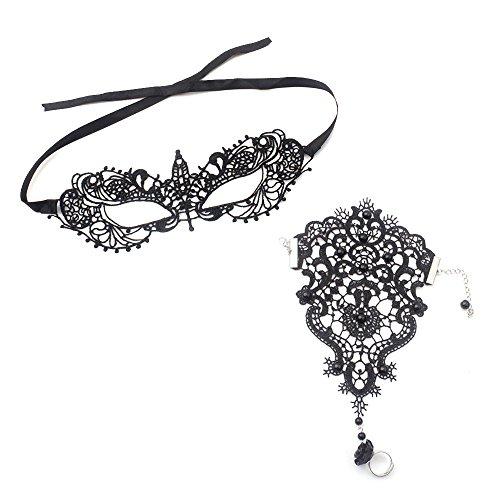 Gosear Sexy Attraktive Schwarz Lace Auge Maske mit Fingerless Gothic Hochzeit Handschuhe für Halloween Partei Masquerade Ball Fancy Kleid Kostüm Portrait (Gothic Masquerade Dresses)