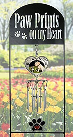Pet Memorial Garden Stake - Pet Memorial Wind Chimes - Paw Prints on My Heart - Dog Memorial Gift - Cat Memorial Gift - Pet Sympathy Gifts - Pet Remembrance Gifts - Pet Bereavement by Banberry Designs