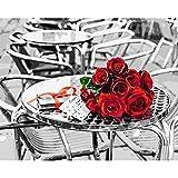 XIAOBAOZISZYH Handgemachtes Ölgemälde Digital DIY Digitale Malerei Romantische Rosen Wandhauptdekoration.40 × 50 cm