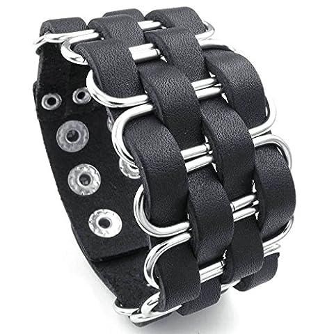 amdxd Bracelet jonc plaqué or style vintage hommes bracelets Bracelet Gourmette longueur: 20,3cm Argenté/noir