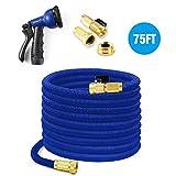 Easehold 75ft tubo flessibile per tubi 22.5M tubo flessibile di irrigazione espandibile con 8 funzioni spray per ugello ad alta pressione per lavaggio lavaggio (75ft, Blu)