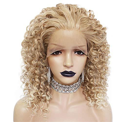 Kurze verworrene lockige Blonde Retro Schaukel synthetische Lace Front Perücke für Frauen hitzebeständige Faser Halloween Punk ()