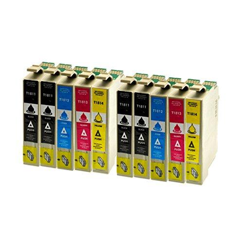 10 Druckerpatronen kompatibel für Epson T1811, T1812, T1813, T1814 für Expression Home XP102 XP202 XP205 XP30 XP302 XP305 XP402 XP405