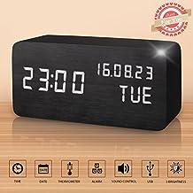 Reloj Digital Despertador Madera de Haya con Control de Sonido y LED Brillo de la Pantalla (Negro)