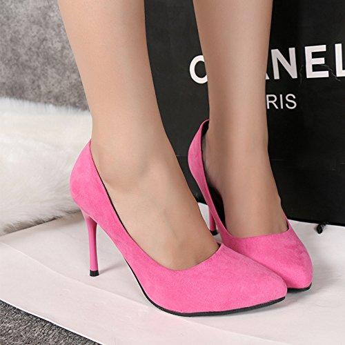 La versione coreana del pattino singolo suggerimento olo solido raso colore luce è bene con tacco alto Pink