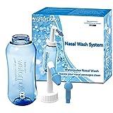 Lavado Nasal 300ml con dos Boquillas Para Adultos y Niños- Irrigación Nasal Alivio Natural para el Resfriado y Síntomas de Alergia