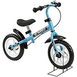 """Enkeeo - 12"""" Bicicleta de Equilibrio, Bicicleta sin Pedales para Los Niños de 3-6 Años, Marco de Acero al Carbono, Manillar y Asiento Ajustable, con Timbre y Freno de Mano, 50kg de Capacidad, Azul"""