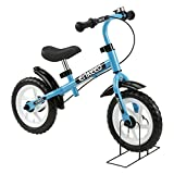 Enkeeo 12 inch Balance Bike No Pedal with Bell and Hand Brake for 3 - 6 Year Old Kids , Carbon Steel Frame, Adjustable Handlebar, Seat and Stand, 50kg Capacity, Blue
