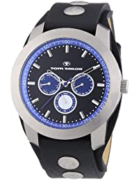 Tom Tailor  0 - Reloj de cuarzo para hombre, con correa de cuero, color negro