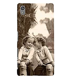 Fuson Designer Back Case Cover for Sony Xperia Z5 Premium :: Sony Xperia Z5 4K Premium Dual (Girls Twins Playing Horses Swinging Horses Sisters)