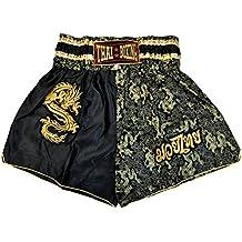 wifash Pantalón Corto de Boxeo tailandés, Talla M, Muay Thai, Color nego/