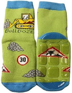 Weri Spezials Baby und Kinder Voll-ABS Socke Bulldozer Motiv in Jeans