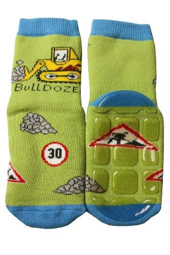 Weri Spezials Baby Voll-ABS Socke Bulldozer Motiv in Gruen Gr.19-22 (12-24 Monate) -
