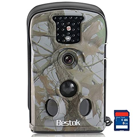 Bestok Trail Camera 12MP HD Wildlife Camera No Glow Infrared LEDs Night Vision 65ft Detection Range Waterproof Hunting Scouting Camera for Deer Hedgehog Fox Cat Dog Animal with 8GB SD