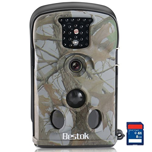 Special Set Bestok Neuf Trail Camera De Chasse Surveillance Impermeable Etanche Invisible Observation Traque Ir Infrarouge Nocturne Video Numerique Avec Carte Sd 8g