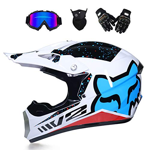 GNB Adult Motocross Helmet Dirt Bike Off Road Motorrad ATV AM Mountainbike Full Helm MX Full Helmet Offroad/Goggles/Mask/Handschuhe (Youth S 52-53cm-XL, 8 Style),Snowflake,M