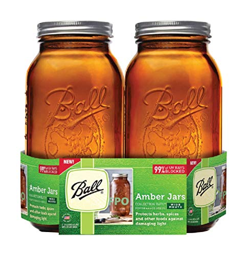 Ball(R Wide Mouth Canning Jars 2/Pkg-1/2 Gallon Elite Color Series Amber 64oz Ball Canning Jar