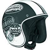 Vega X-380 Open Face Helmet with Old Skool Graphic (Flat Black/Monochrome, XX-Large) by Vega