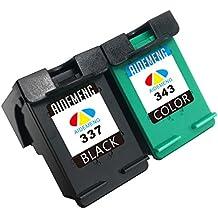 AideMeng 2 Cartuchos de Tinta Remanufacturados Reemplazar para HP 337& HP343 (1 Negro, 1 Tricolor) Compatible con HP Deskjet D4160