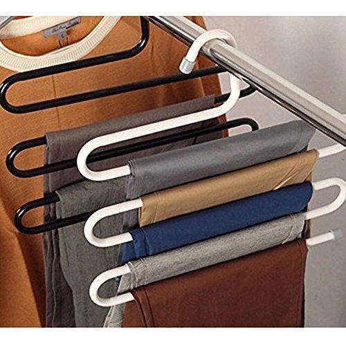 Kompassswc Kleiderbügel platzsparende Hosenbügel aus Metall Mehrfach für 5 Hosen Jeans Handtuch Krawatte Schal (Fashion Weiß)