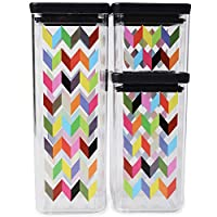 French Bull 3 Piece Dry Food Storage Container Set - Pantry, Airtight, Stackable - Ziggy