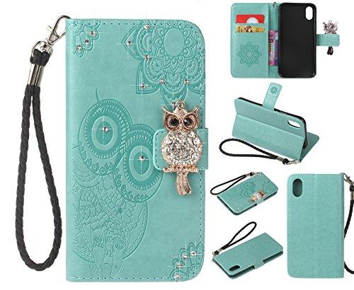 iPhone X Custodia, COOSTOREEU 3D Glitter Gufo e Mandala Embossing Premium PU Custodia in Pelle Card Slot Magnetica Portafoglio Flip per Apple iPhone X,Dorato Menta verde