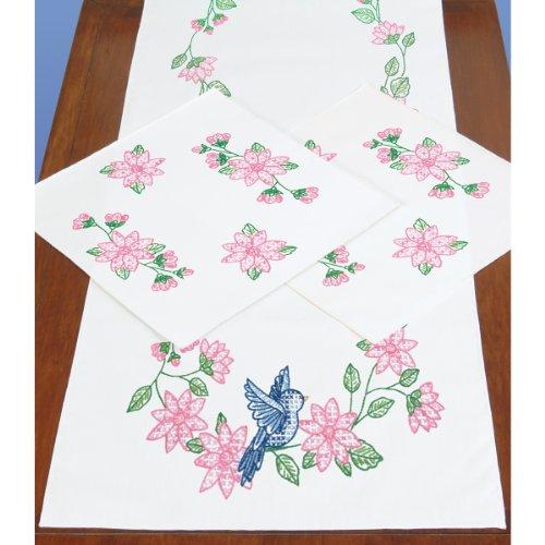 Jack Dempsey Prägung Dresser Schal und Deckchen Perle Edge-Bird, (Deckchen Für Kommoden)