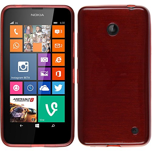PhoneNatic Custodia per Nokia Lumia 630 Cover rosso brushed Nokia Lumia 630 in silicone Cover