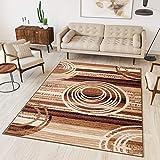 Tapiso Alfombra De Salón Moderna – Color Marrón Beige Diseño Retro Rayas Círculos – Varias Dimensiones S-XXXL 180 x 250 cm