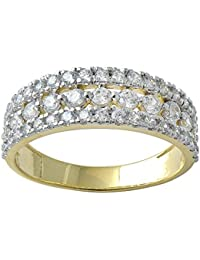 Lolls 2.31 CT 14K Yellow Gold Over 925 Sterling Silver Round Cut Cubic Zirconia Eternity Band Ring Wedding Ring...